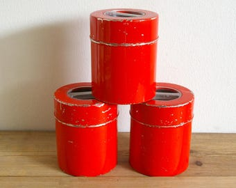 Vintage Kitchen Canisters Red Set.Tins Red Set Of 3.Scandinavian Country  Kitchen Decor