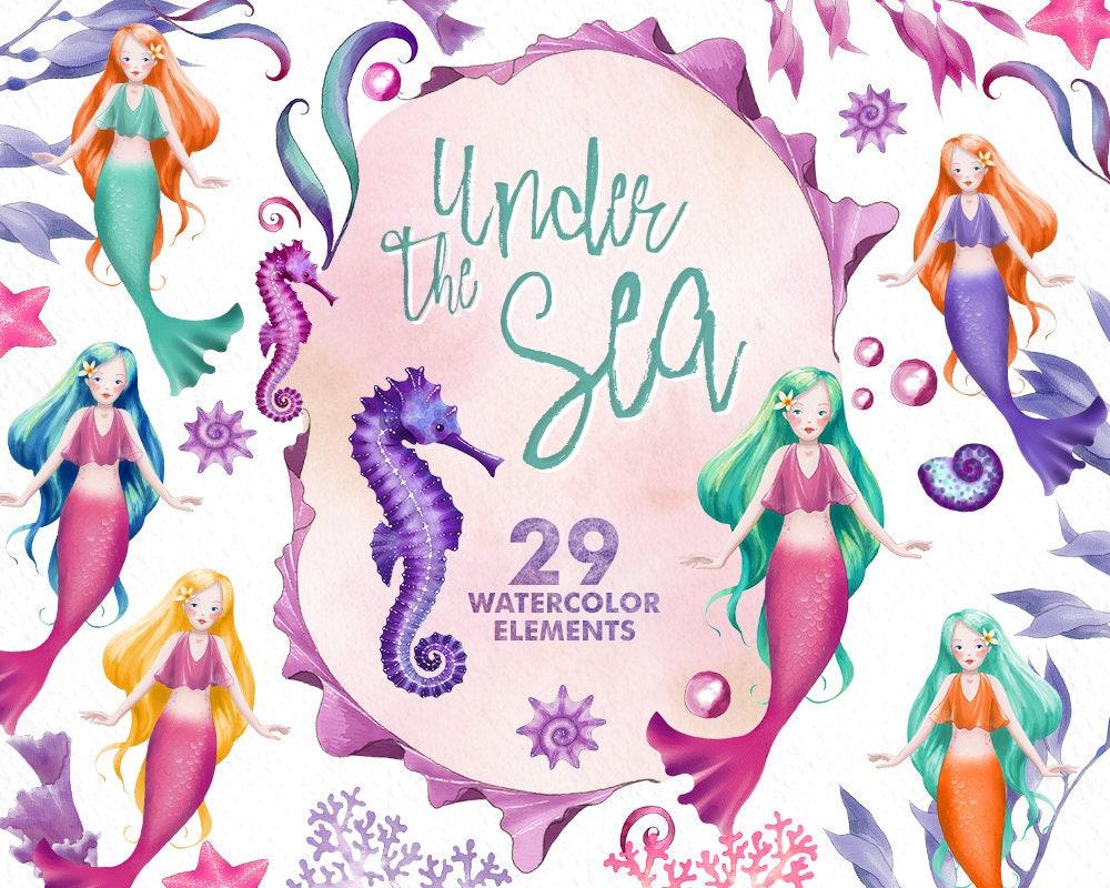 watercolor mermaid clipart under the sea seahorse clip art