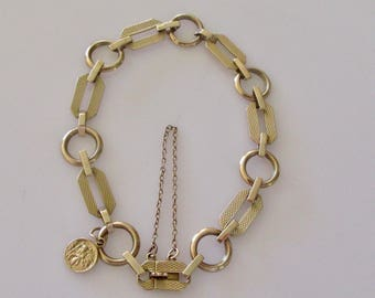9ct Gold Engine Turned Link Bracelet