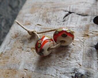 RESERVED * NONA * tribal Lampwork handmade lampwork beads, Lampwork, ivory and orange, handmade beads.