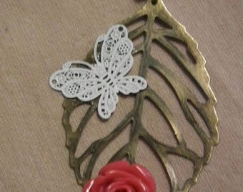 """""""The butterfly, leaf and rose"""" necklace"""