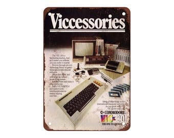 """1983 Commodore VIC-20 Computer Accessories - Vintage Look Reproduction 9"""" X 12"""" Metal Sign"""