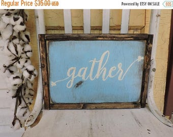 ON SALE, 40% Gather, In STOCK, Will ship out within 1-2 days,  Wood sign, housewarming gift, gift