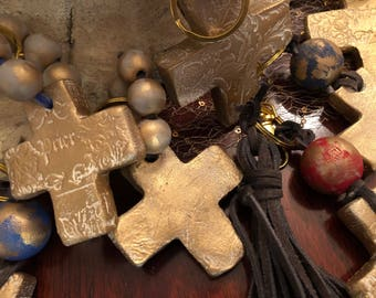 Clay cross keychain