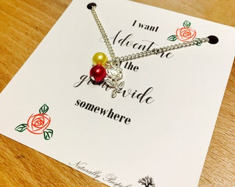 beauty and the beast necklace, beauty and the beast, disney necklace, belle necklace, birthday necklace, belle, rose necklace, disney