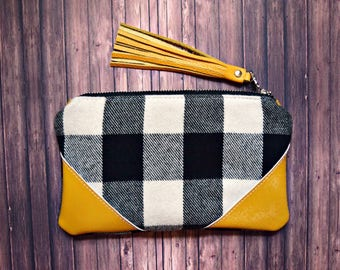 Ready to ship fall pouch, black and white plaid, mustard pouch, flannel pouch, fall bag, plaid bag, plaid pouch, checker clutch