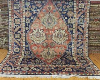 Unique Antique Cr1900-1939s Armenian Nagorno-Karabakh 7x9' Wool Pile Rug