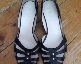 Black Studio Pollini Vintage Cut Out Shoes Size 40