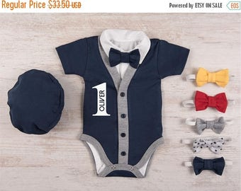 LATE SHIP SALE First Birthday Outfit Boy, Personalized Short Sleeve Navy Cardigan, Bodysuit, Hat & Bow Tie Set, 1st Birthday Boy Outfit, Bow