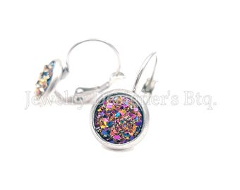 Hypoallergenic Surgical Stainless Steel Leverback Earrings - 8mm Iridescent Faux Druzy Cabochon Jewelry - Made To Order - Wholesale Price