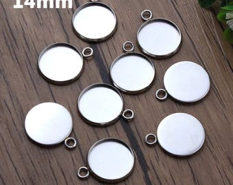 10pcs, 14mm Hypoallergenic Stainless Steel Cabochon Settings, 14 mm Bezel, Cabochons Jewelry, Pendant Charm Blanks, Jewellery Supply
