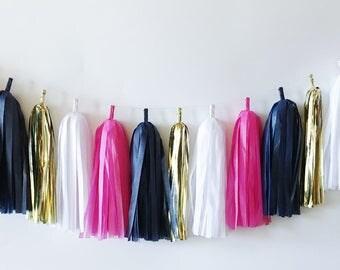 Tissue Tassel Garland  //  Bright Pink   //  Gold  //  Navy  //  Bridal Shower Decor  //  Birthday Party