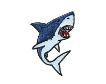 Shark Embroidered Applique Iron on Patch