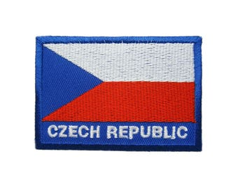 Czech Republc Flag Embroidered Applique Iron on Patch