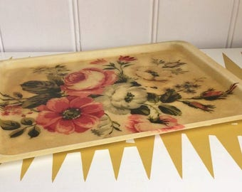 Vintage Flower design fibreglass Serving Tray, Kitchen, Dining, country