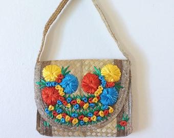 Vintage Straw Purse/Vintage Raffia Purse/Vintage Purse/Vintage Handbag/Raffia Flowers