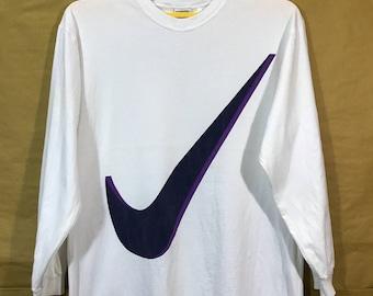 "90s Vintage Nike Swoosh Big Logo Longsleeves T-shirt Adult Large Size Chest 21.5"" Hip hop"