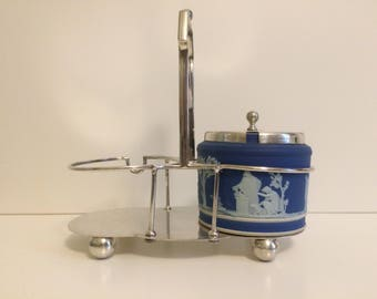 Early Wedgwood, Blue Jasper, Jasperware, Dark Blue, Marmalade Jar, Condiment Set, Jam Pots, 1800s,