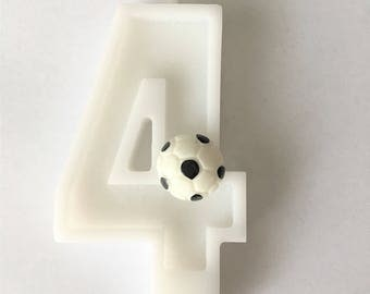 Small Soccer  Birthday Number Candle