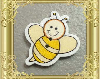 Bee Cross Stitch Needle Minder - Yellow