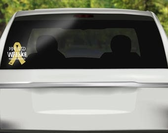 Childhood Cancer Decal, Pint Sized Warrior, Cancer Decal, Gold Ribbon,Car Stickers, Cancer Stickers, Window Decal, Window Stickers, Stickers