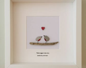 Pebble art, pebble art robin picture, remembrance & sympathy gift, original wall art, robins appear when lossed loved ones are near.