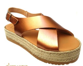 PLATFORM SANDALS Espadrille Soles 100%  from Full Grain Leather