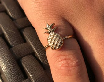 Pineapple Ring, Pineapple Jewelry, Adjustable Ring, Gift for Her, Pineapple Fashion Jewelry, Girls Ring, Silver, Gold, Ring