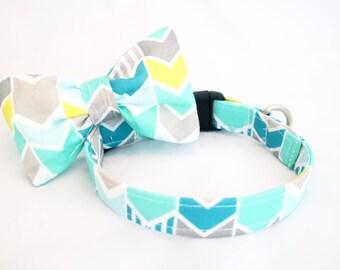 Handmade teal herringbone dog collar & bow tie set