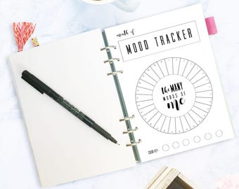 Monthly Mood Tracker Circle, Bullet Journal, A5 Journal, Mood Chart, Printable, PDF Download, Track Your Mood, Instant, Shortcut