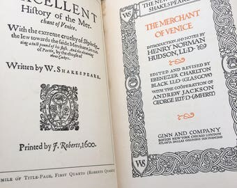 1906 The Merchant of Venice by William Shakespeare