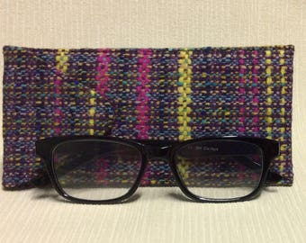 Welsh tweed glasses/spectacles case in multi coloured weave with pink & yellow stripes