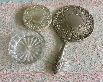 Heavy Silver Hand Mirror set Art Nouveau victorian style vanity mirror and brush set