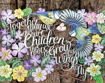 Papercut Template 'Together May We Give our Children the roots to Grow' PDF JPEG for handcutting & SVG file for Silhouette Cameo or Cricut