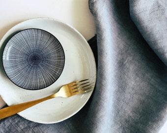 Grey Block Linen Tea Towel