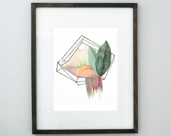 Cage and Leaves 4x6 8x10 Print - Modern Botanical Watercolor Illustration - Boho Industrial Small Art Print - Orange Green Maroon Wall Decor