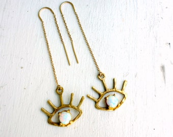 Beholder Ear Threads- Brass and Opal Ear Threads - Handmade Gold and Opal Ear Threads - Eye Lash - Eyeball Earrings