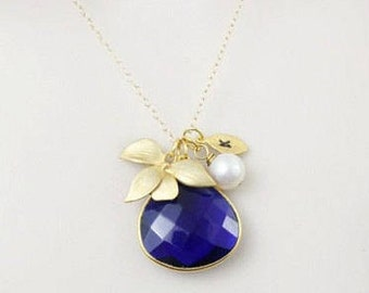 Sapphire Necklace, Gemstone Necklace,Orchid Necklace,Stone Necklace,Personalized Jewelry,Pendant Necklace,September birthstone,Gold necklace
