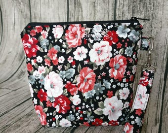 Make Up Pouch - Black Red Flowers