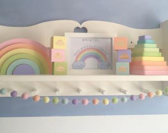 Felt ball garland, ball garland, rainbow garland, rainbow banner, pastel rainbow banner, pastel garland, rainbow decor, rainbow nursery
