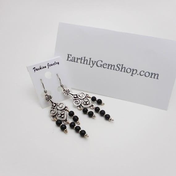 Silver Jet Earrings - Jet Earrings - Jet Beads Earrings - Bronze Jet Earrings - Gift for her - Protection Earrings - Chandelier