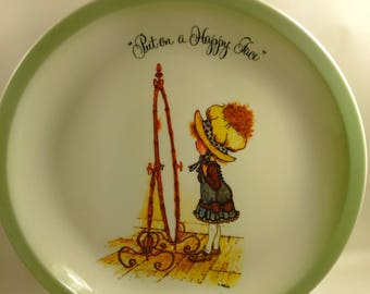 """American Greetings Holly Hobbie Designer Plate/""""Put On A Happy Face""""/New See Details (Y)"""