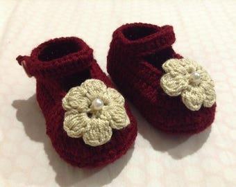 Mary Jane Crochet Booties, Crochet Baby Booties, Baby Girl Booties, Baby Shower Gift, Baby Girl Shoes, Crochet Bébé Bottillons, Crochet Bébé