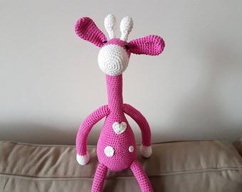 Crochet Giraffe, Plush Giraffe, Amigurumi Giraffe, Giraffe Toy, Giraffe Gift, Pink Giraffe, Gift for Girl, Giraffe Animal, Heart Decoration