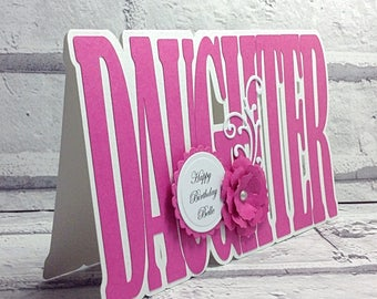 Daughter birthday card, birthday card daughter, personalised, handmade, special greeting card