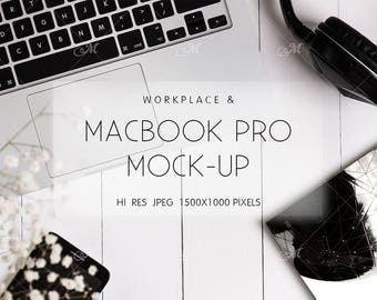 Workplace & Macbook Photo Mockup. PSD + JPG