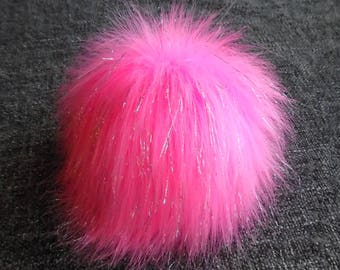 Size M, (Pink-Silver threads) faux fur pom pom 5 inches/13 cm