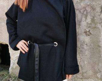 Black Wool Poncho Coat / Women Cape Coat / Cashmere Poncho Coat / Long Sleeve Trench Coat / Wool Vest