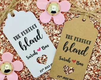 The Perfect Blend- Coffee / Tea Favour Wedding Gift Tag Guest Label Kraft