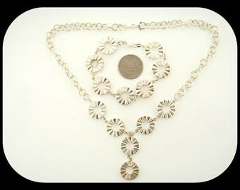 New Italy Designer 925 sterling silver SET Textured Circles Necklace & Bracelet